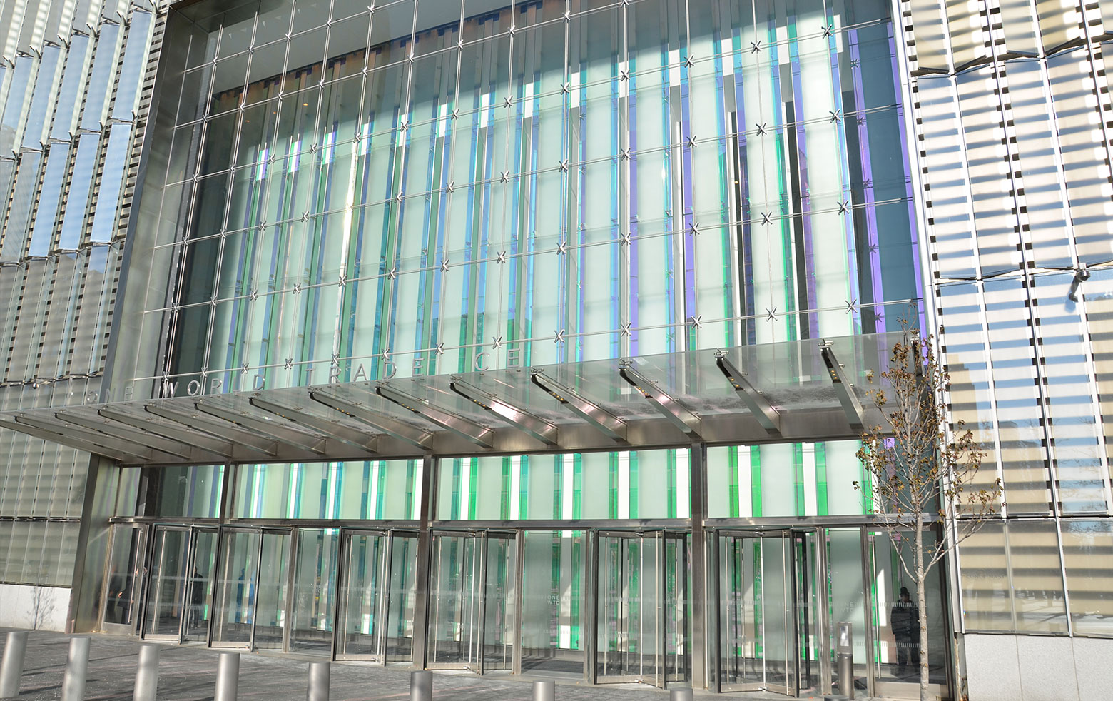 Colour effect glass in entrance and lobby of the Tower One