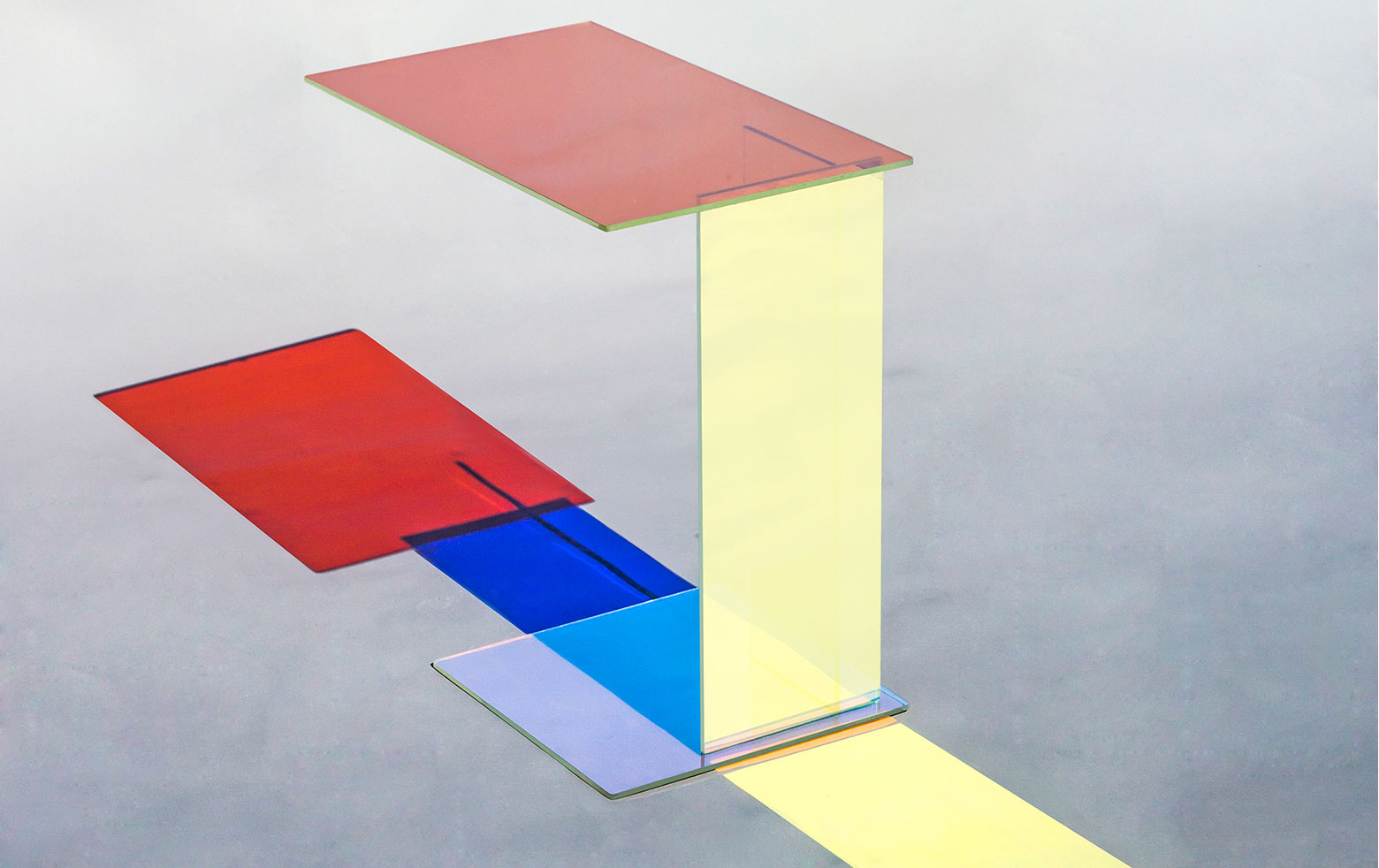 Kukka designer table abcd with dichroic glass