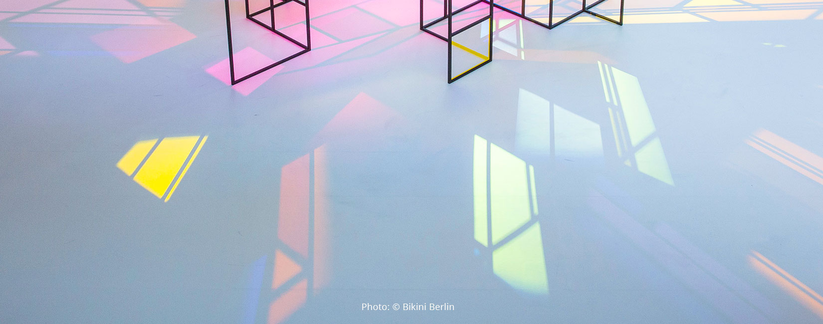 "art installation with colour effect filters ""Light Catching Shadows"" by Camilla Richter at Bikini Berlin"