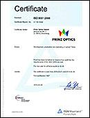 QS Certificate ISO 9001:2008 for Prinz Optics
