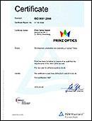 QS Certificate ISO 9001:2008 for Prinz Optics