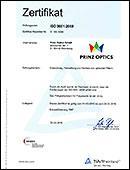 ISO Zertifikat 9001:2008 für Prinz Optics